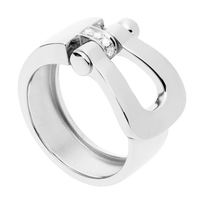 Bague Force 10 Grand Modèle en or gris et diamants blancs