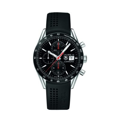 TAG Heuer Carrera Chronographe CAL 16                                                                     Fond de boitier spécial dédié au pilote Juan Manuel Fangio
