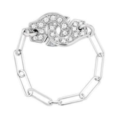 Bague chaîne MENOTTES dinh van R7,5 et diamants.
