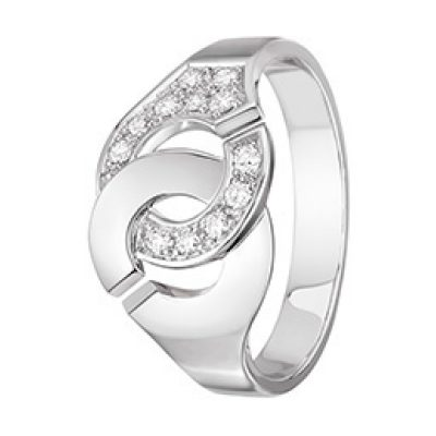 Bague chaîne MENOTTES dinh van R12 et 1/2 diamants.