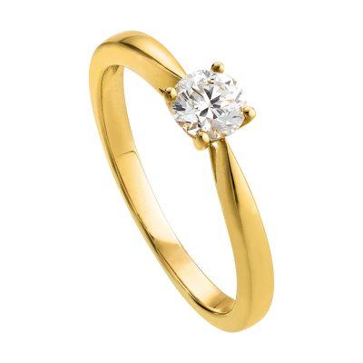 Bague solitaire 4 griffes diamant sur or jaune