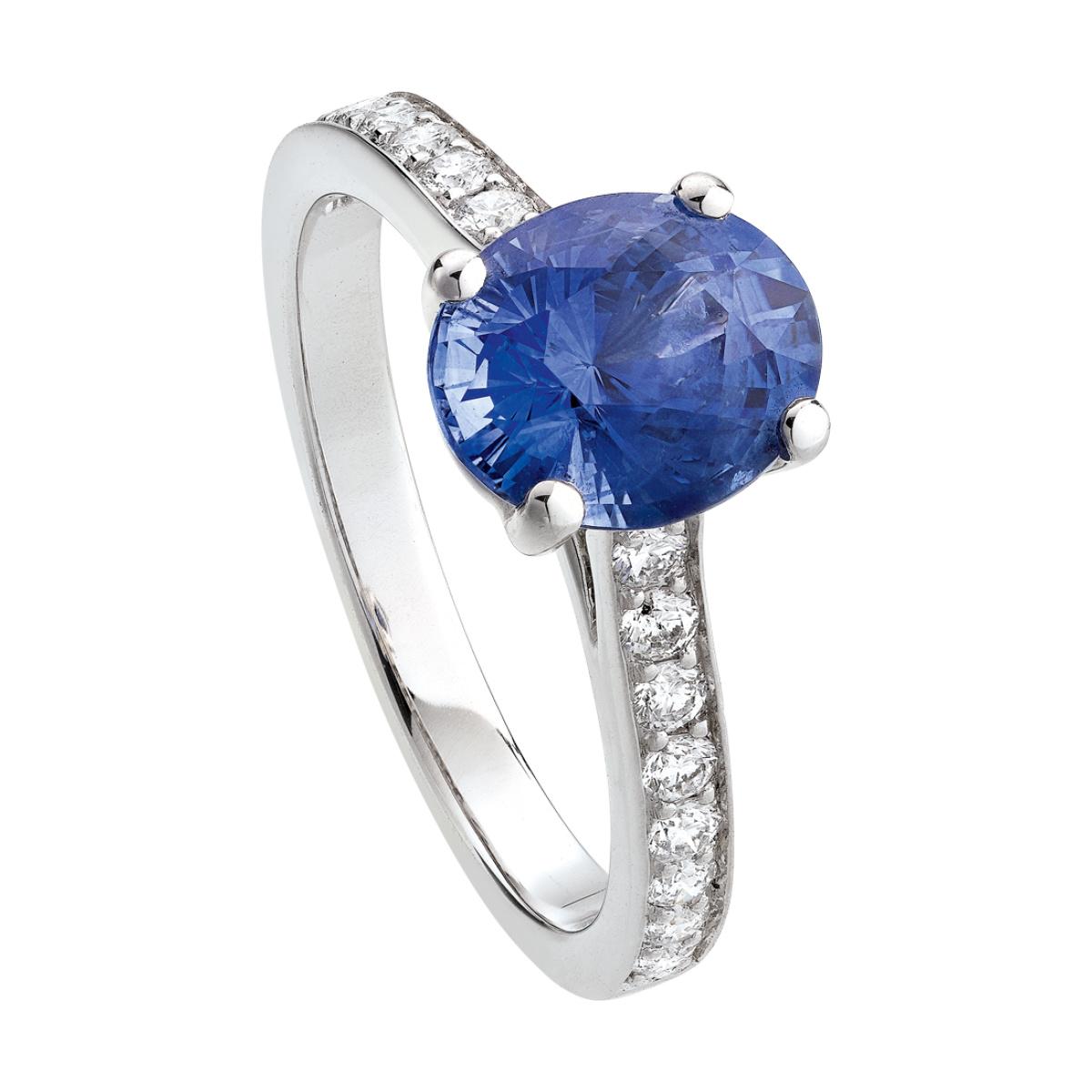 bague or gris saphir bleu