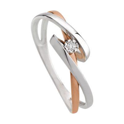 Bague diamant sur or rose entrelacé d'un lien or gris