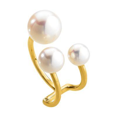 Bague perles d'eau douce sur fils d'or jaune