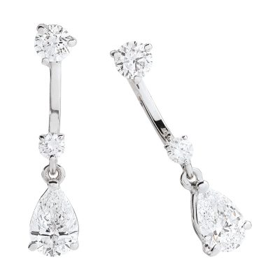Pendants d'oreilles diamants sur or blanc