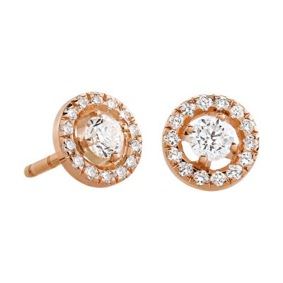 Boucles d'oreilles diamants et entourage diamants sur or rose