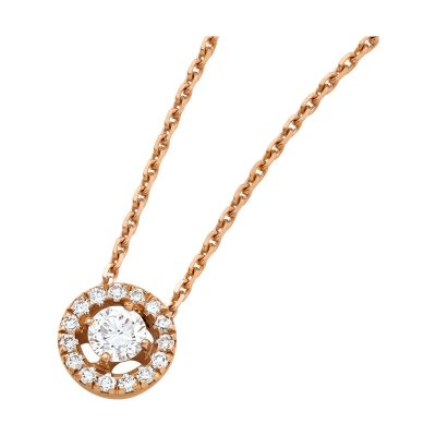 Collier solitaire diamant et entourage diamants sur or rose