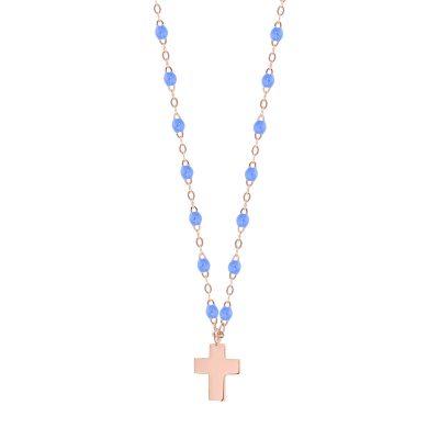 Collier gigiCLOZEAU pendentif croix en or et perles de résine bleuet
