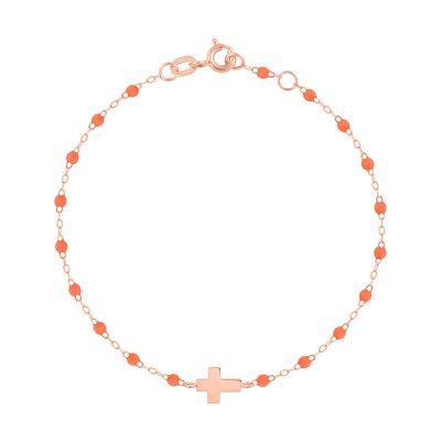 Bracelet gigiCLOZEAU croix en or rose et perles de résine orange