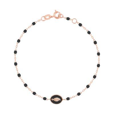 """Bracelet gigiCLOZEAU """"madone"""" et perles de résine noire"""