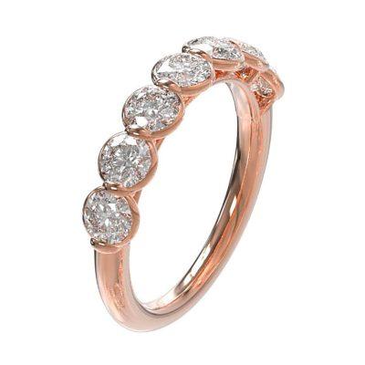 Alliance diamants demi-tour sur rose