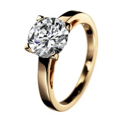 Bague de fiançailles, solitaire diamant sur or jaune