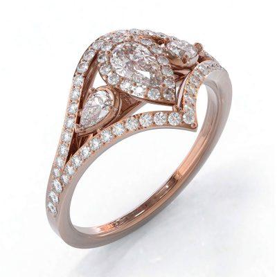 Bague diamants sur or rose