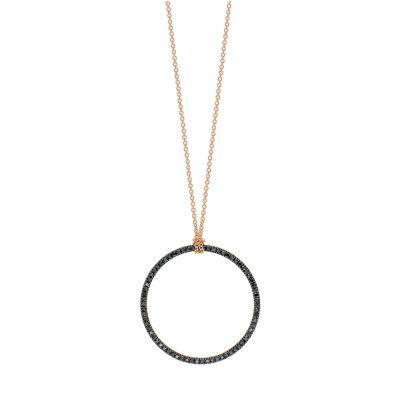 baby black diamond circle on chain