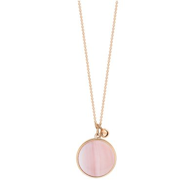 ever pink MOP disc on chain