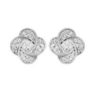 Boucles d'oreilles Trèfes diamants sur or blanc