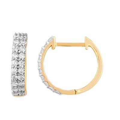 Boucles d'oreilles diamants sur or jaune