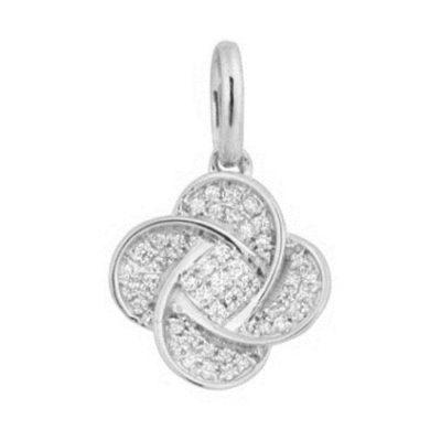 Pendentif Trèfle diamants sur or blanc