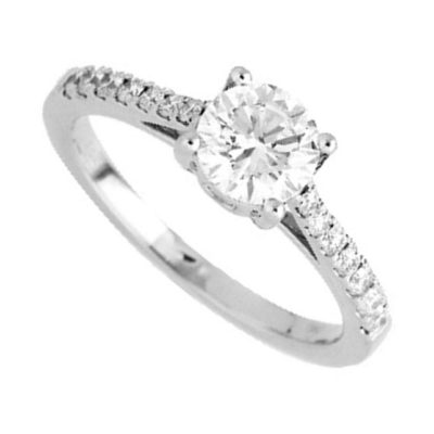Solitaire diamants sur or blanc