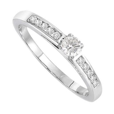 Bague solitaire diamants sur or blanc