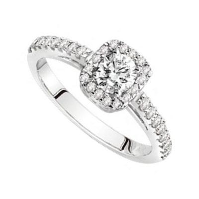 Solitaire diamants sur or blanc